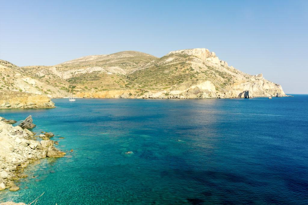 View of Agali coast Folegandros Island Cyclades Aegean Sea Greece during summer