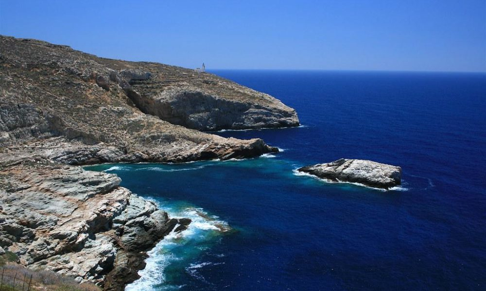 Rugged shoreline of Folegandros