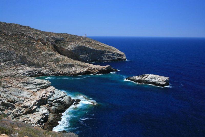 Rugged shoreline of Folegandros