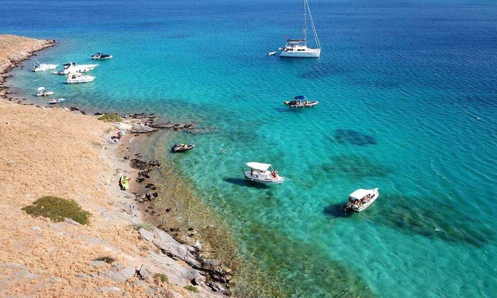Covid-safe cruises in Santorini, other Greek islands and Athens Riviera aerial photo of Spiridakos Sailing cruise in Irakleia