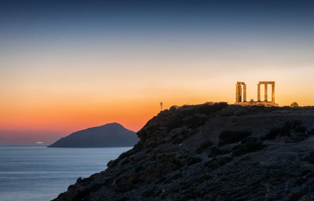 Sailing from Athens   Cape Sounio at sunset